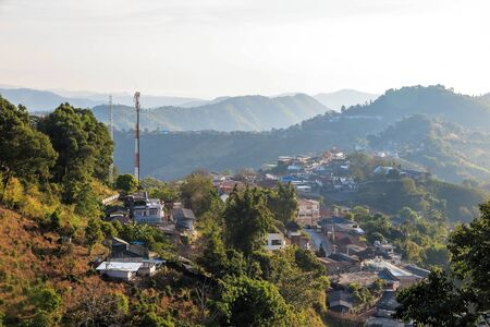 an agricultural district: Village urbanization in the mountain and forest, Doi Mae Salong, Chiang Rai, Thailand