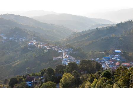urbanization: Village urbanization in the mountain and forest, Doi Mae Salong, Chiang Rai, Thailand