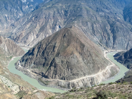 yangtze: Omega Bend of Yangtze River Yunnan, China Stock Photo