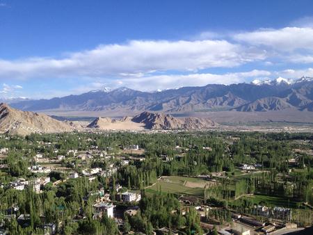 shanti: Leh city view from Shanti stupa, Leh-Ladakh, India