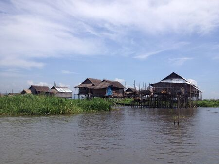 stilted: Stilted houses in village on Inle lake, Myanmar Stock Photo
