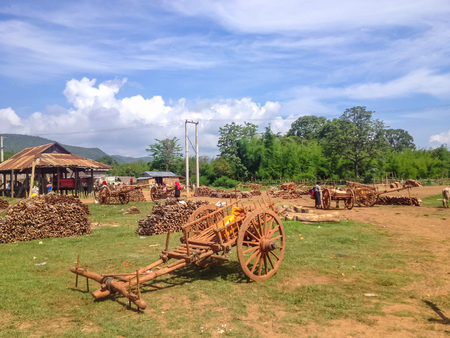 farme: NYAUNG SHWE, MYANMAR - MAY 26 : Local residents sell firewood at the friday market on May 26, 2014 in Nyaung Shwe, Lake Inle, Myanmar.Wood is the main heating material in Burma.