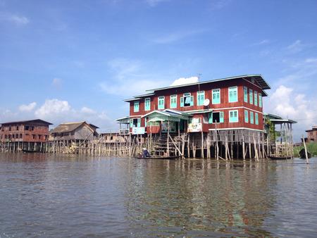 INLE LAKE, MYANMAR - MAY 26 : Stilted houses in village on Inle lake, Myanmar on May 26, 2014