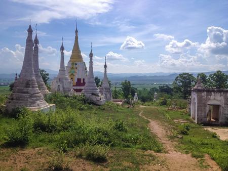 inle: Shwe Inn Thein Paya temple complex in Inle Lake, Myanmar (Burma)
