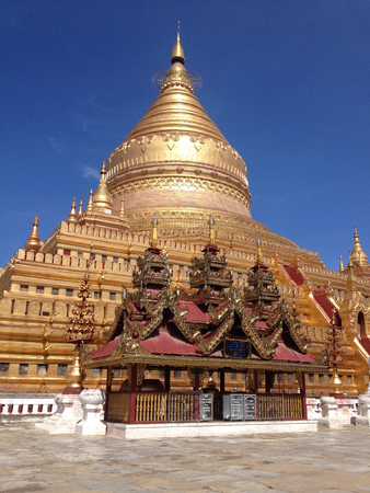 Shwezigon Pagoda in Nyaung-U, Bagan, Myanmar