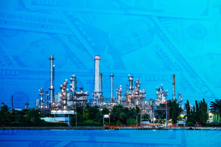 Oil refinery plant with dollar cash background. Industrial business and economy concept