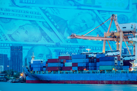 Logistics and transportation. Shipping port and container cargo ship loading by crane. Dollar cash background. Double Exposure