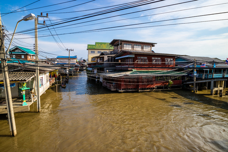 SAMUT PRAKAN, THAILAND - AUGUST 18, 2017 : Sa Khla village, Thai traditional waterfront village in countryside of Bangkok, Thailand