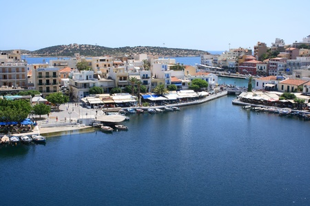 greece shoreline: Lake Voulismeni in Agios Nikolaos, Crete, Greece