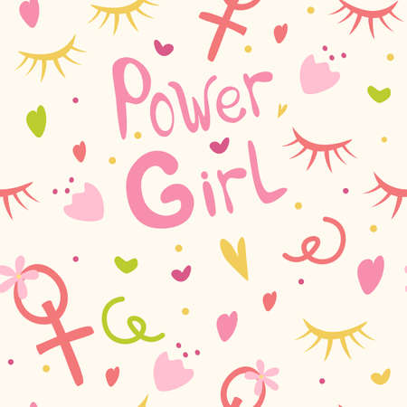 Background for girls the inscription girls' power, hearts, flowers and cilia. Girlish print for clothes, textiles, wrapping paper, web. Seamless pattern on a white background Vettoriali