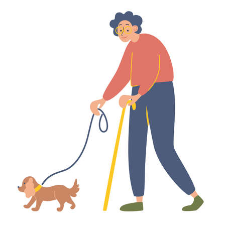Elderly woman with a cane on a walk with her beloved dog. Happy old lady with her favorite pet. Healthy lifestyle and active pastime for elderly people. Vector flat cartoon illustration.