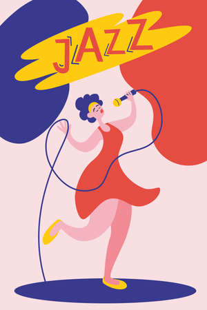 Poster or flyer template for jazz music performance with female singer. Young beautiful girl sings into the microphone. Jazz Festival. Flat vector illustration in contemporary art style.