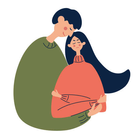 Young guy hugs a frustrated girl. An unhappy, grieving woman or a tense student. Mental health. Couple, support, depression, mental stress, frustration concept. Hand drawn flat illustration.