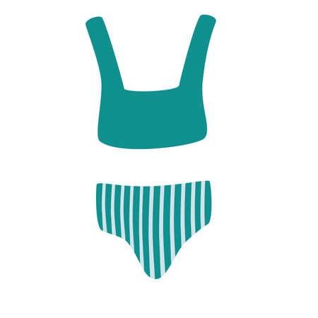 Women's striped swimsuit. Colorful woman's swimsuit vector icon. Fashionable women's swimsuit. Bikini top and bottom. Swim wear illustration in vector. Flat vector cartoon illustration