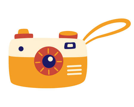 Retro camera in a cartoon style. Old camera with strap. Recreation tourism. Modern simple snapshot photography sign. Vector illustration with cute retro camera.