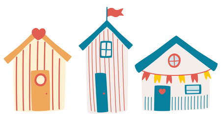 Set of beach houses. Summer card with beach huts. Beach Bungalow Hotel with Different Exterior. Attributes for a beach holiday on the ocean. For decor, cards, flyers. Cartoon Vector illustration.