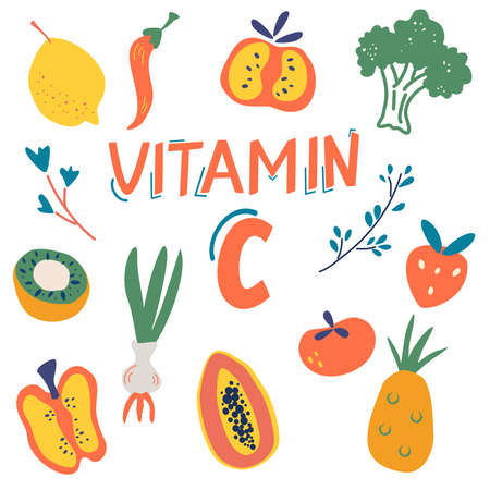 Vitamin C sources set. Fruits and vegetables enriched with ascorbic acid. Dietetic food, organic nutrition composition. Healthy food, dietetics products, organic. Flat vector cartoon illustration