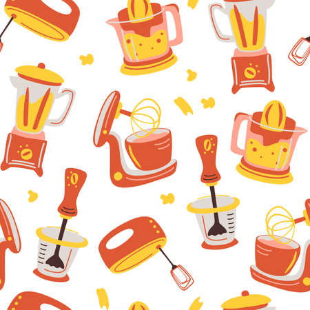 Seamless pattern with kitchen appliances. Household cooking tools - Mixer, Juicer, Blender. Household appliances for the kitchen. Background for restaurant, menu, textile, wallpapers. Vector