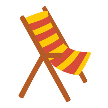 Wooden beach chaise longue. Vacation and travel concept. Beach chair in stripes. Element of beach holidays colored icon for mobile concept and web apps. Summer time. Vector flat illustration.