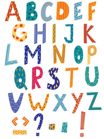 Latin alphabet in cartoon style. Hand draw alphabet with stripe and polka dot style. Cute colorful English alphabet, funny hand drawn typeface.