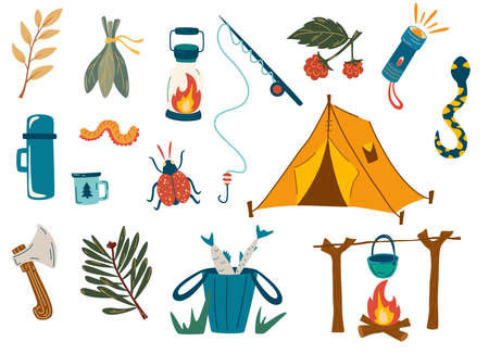 Camping and hiking set. Outdoor recreation, fishing, hiking in the forest. Fishing rod, tent, fire, insects, branches, flashlight, ax. Vector Illustration