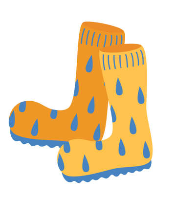 Orange rubber boots. Autumn boots with water droplets. Garden and Perfect shoes for rainy weather. Cartoon cute rubber boots pair icon. Flat vector illustration.