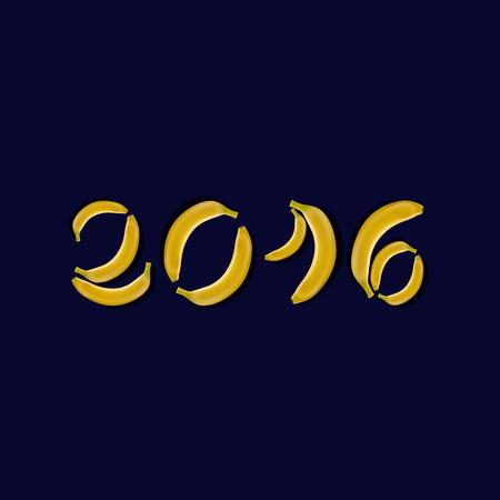 date fruit: Illustration inscription 2016 bananas.