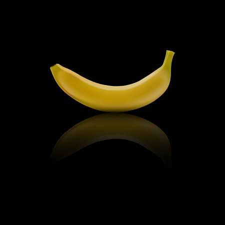 in reflection: Illustration of banana with reflection.