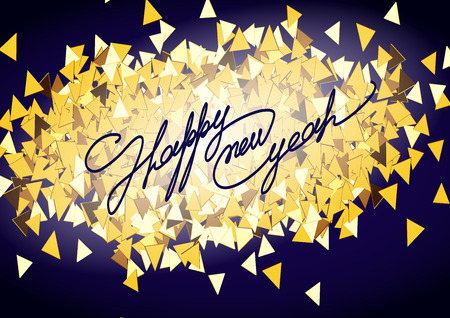 sophistication: Christmas card inscription calligraphic font on a background of golden confetti. Happy new year 2016. Vector illustration.