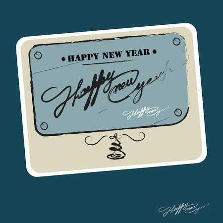 New Years and Christmas cards. Happy new year 2016. The retro and vintage style. Graphic vector illustration.
