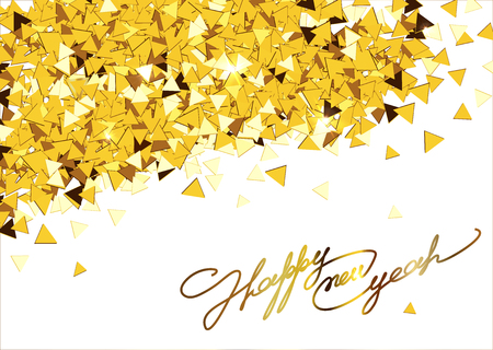 entertaining: Christmas card inscription calligraphic font on a background of golden confetti. Happy new year 2016. Vector illustration.