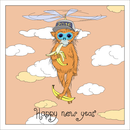 flying monkey: Christmas and New Year greeting card with a picture of a monkey flying in the clouds in the propeller cap in the leg with a banana. Happy new year 2016. Graphic vector illustration.
