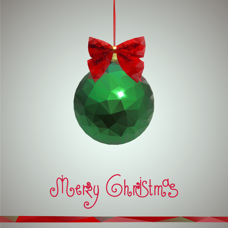 Christmas and New Year greeting card with Christmas Christmas decorations in the form of a green sphere with a shiny red bow made of triangles. Happy new year 2016. Graphic vector illustration.