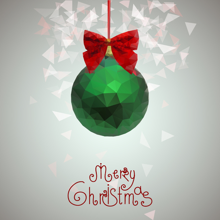 sophistication: Christmas and New Year greeting card with Christmas Christmas decorations in the form of a green sphere with a shiny red bow made of triangles. Happy new year 2016. Graphic vector illustration.