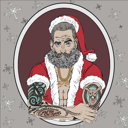 christmas tattoo: Christmas and New Year greeting card with the image of Santa Claus as a brutal man with a modern Christmas tattoo. Happy new year 2016. Graphic vector illustration.