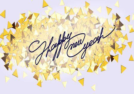 황금 색종이의 배경에 크리스마스 카드 비문 붓글씨 글꼴. 행복 한 새 해 2016입니다. 벡터 일러스트 레이 션.