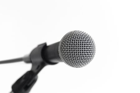 reverb: Classic dynamic microphone on a white background