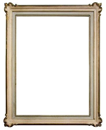 Vintage wooden frame isolated on white background photo