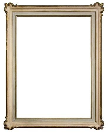 Vintage wooden frame isolated on white background photo