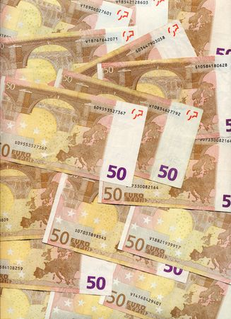 50 euro: Texture of 50 euro bills Stock Photo