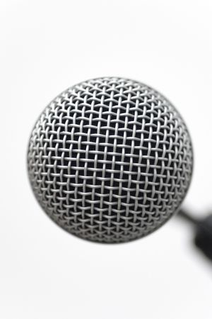 reverb: Mic head closeup on a white background Stock Photo