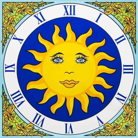 made to measure: Artistic ceramic clock with a yellow sun and no pointers