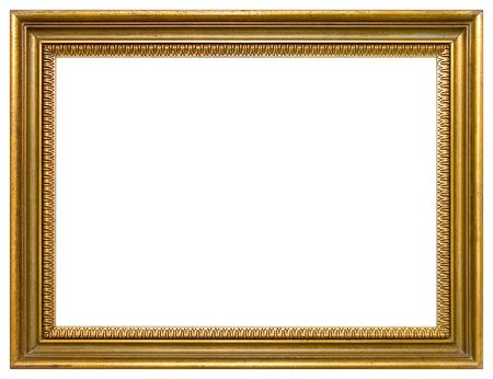 a frill: Empty gold frame isolated