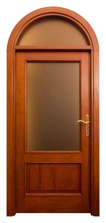 matt: Isolated Home Door with matt glass Stock Photo