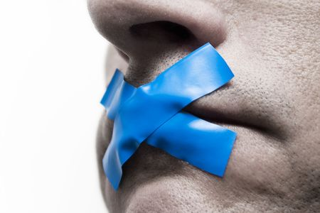 taped: Censored man with tape on the mouth