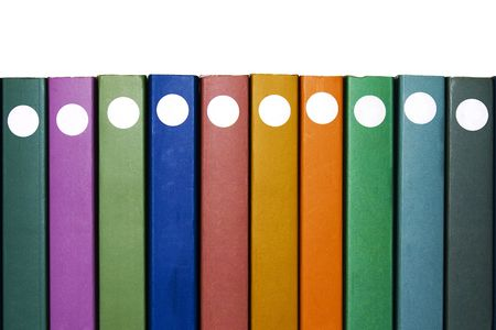 directory book: Ten Books. Ten books on white with different colors