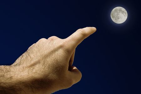Full Moon, Mans Hand pointing the moon