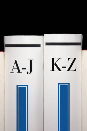 wiki wikipedia: From A to Z, two dictionary books Stock Photo