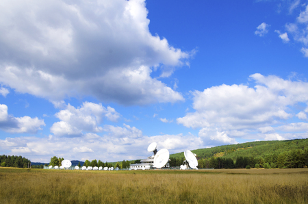 wireless network: Satellite ground station in the field in the countryside