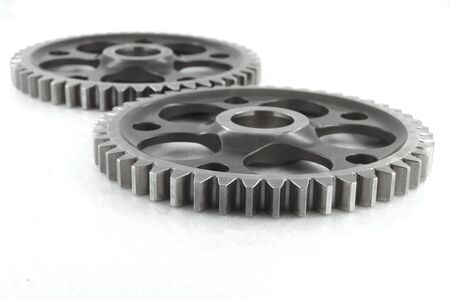 Two gears in action, isolated. Stock Photo - 7399567